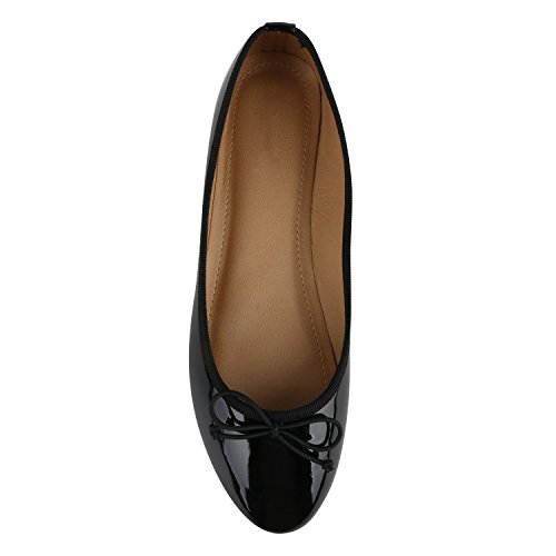 Klassische Damen Ballerinas Lederoptik Modische Schuhe Freizeit Schwarz Black Lack