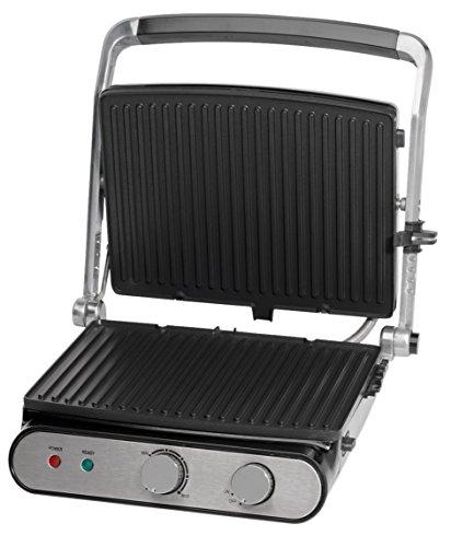 MEDION MD 16054 Kontaktgrill, ca. 2000 Watt, Antihaftbeschichtung, Edelstahlgriff, Überhitzungsschutz, Thermostat, silber