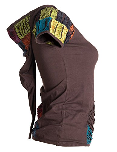 Vishes – Alternative Bekleidung – Patchwork-, Cutwork- Shirt - UNIKAT mit Zipfelkapuze Braun