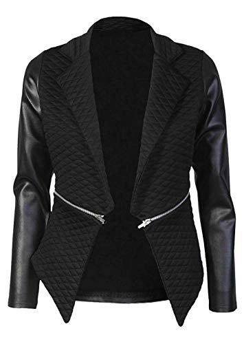 Hi Fashionz Damen Wet Look PVC-Leder, figurbetontes Kleid Minirock Tunika-Oberteil-Leggings (Pu gesteppter Blazer # EU 44) -