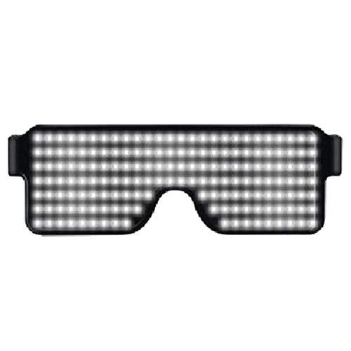 Deylaying Herren und Damen Leuchtend LED Brillen - Licht auf Shutter Brillen Geschenke Wiederaufladbar Sonnenbrillen für Tanzparty Party Geburtstag Halloween Weihnachten(Weiß)