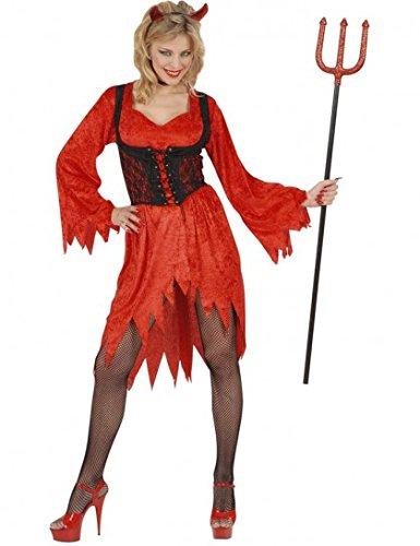 """Widmann 57502, Halloween Damen-Kostüm """"Teufelin"""" in Größe M = 38/40 bestehend aus Kleid, Korsett und Teufelshörner"""