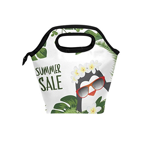 folpply Hello Summer Tropical Pinguin Print Isolierte Lunch Cooler Tasche Lunchbox Handtasche Tasche mit Reißverschluss für Herren Frauen Erwachsene Kinder Jungen Mädchen - Pinguin Lunch-box