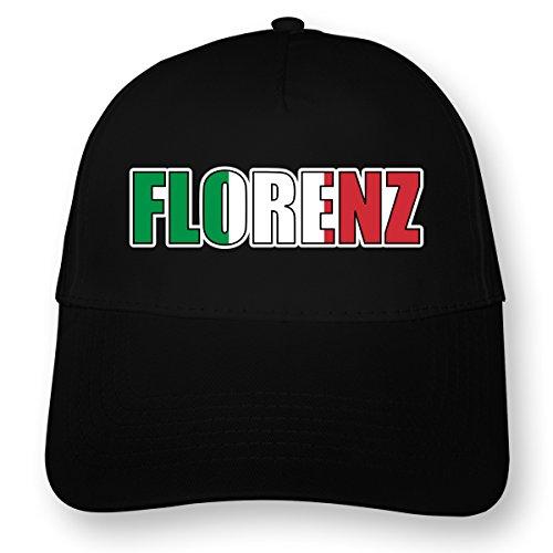 Florenz-panel (plot4u Florenz Schriftzug Baseballkappe Kappe Landesfarben Myrtle Beach 5 Panel Cap OneSize schwarz)