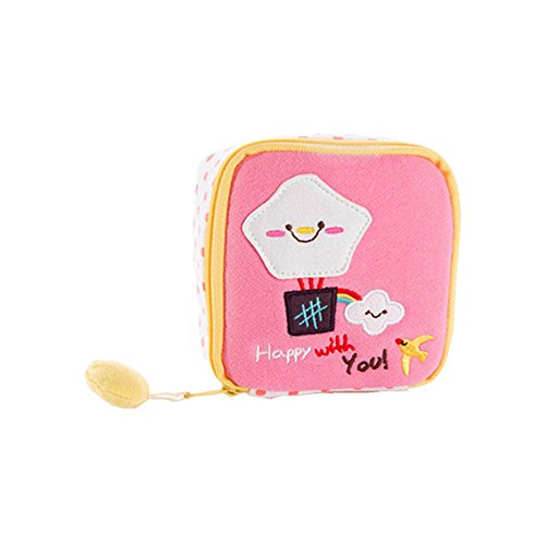 Chickwin Bolso de la bolsa de la servilleta sanitaria linda de la historieta Paquete Bolso de la bolsa de la servilleta sanitaria de la capacidad grande de la tela de algodón (Rosado)