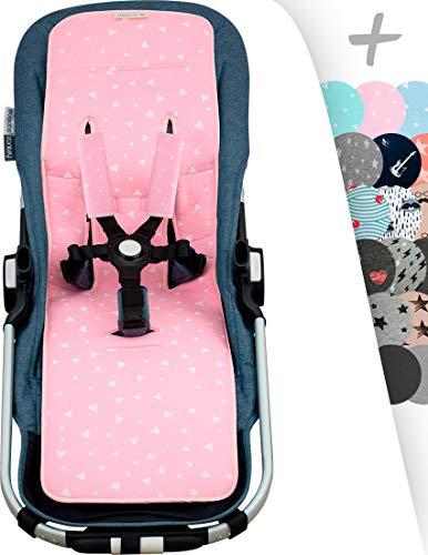 Sitzauflage für gemelar + Schutz des gepolsterten Geschirr für Kinderwagen Janabebé (Pink Sparkles)