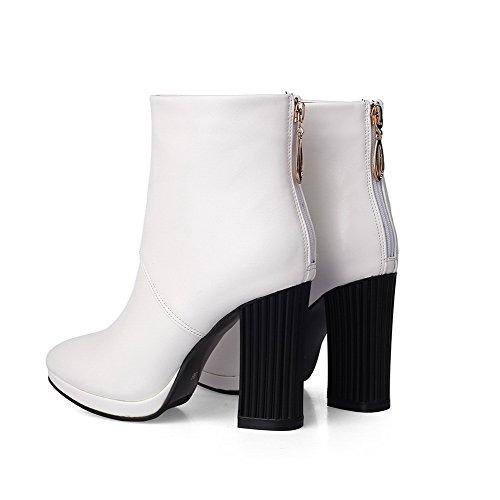 AgooLar Damen Niedrig-Spitze Reißverschluss Hoher Absatz Spitz Zehe Stiefel Weiß
