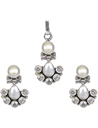 Silverwala 925 Sterling Silver Cubic Zirconia and Pearl Stone Pendant Set for Women and Girls