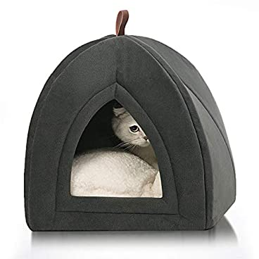 Bedsure Pet Tent Cave Bed for Cats/Small Dogs – 38x38x38cm 2-In-1 Cat Tent/Cat Bed with Removable Washable Cushion Pillow – Microfiber Indoor Outdoor Pet Beds, Dark Grey