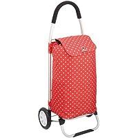 Cool Movers CMTROLRDOT Kitchen Craft - Carro de la compra (plegable, aluminio), diseño de lunares, color blanco y rojo