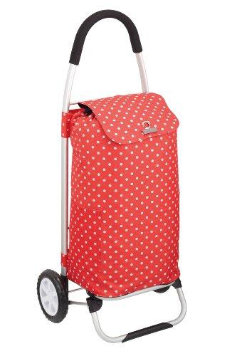 Coolmovers Einkaufstrolley, zusammenklappbar, Aluminium, Rot mit weißen Punkten