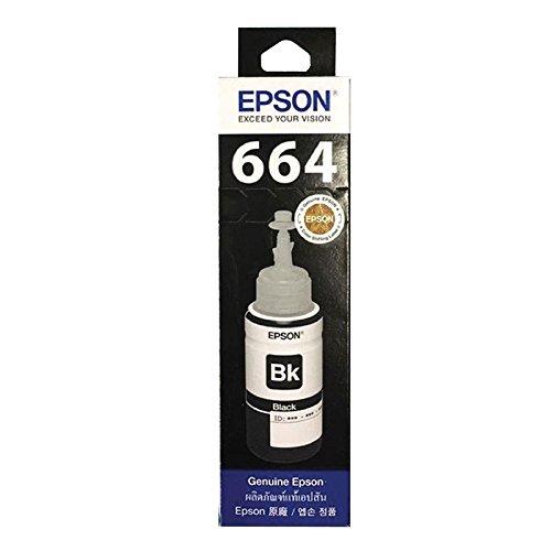 OriginalFromThailand Epson 664(T664100) Système de réservoir Bouteille d'encre Recharge Jet d'encre pour imprimantes Epson Série L, Noir d'encre, Lot 1pcs.