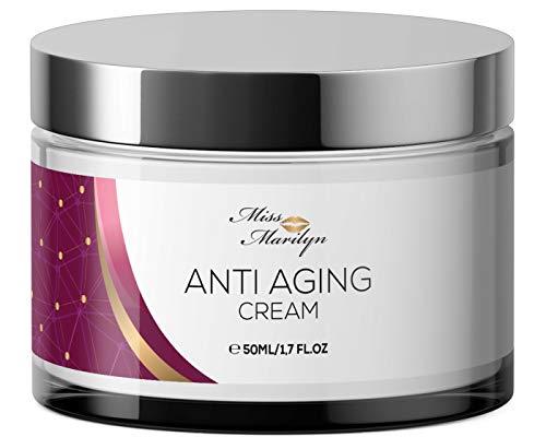 Anti-Aging Creme & Anti Falten Creme hochdosiert - Feuchtigkeitscreme von Miss Marilyn für Gesicht und Augen + Hyaluronsäure + Retinol + Coenzym Q10 - Hergestellt in Deutschland