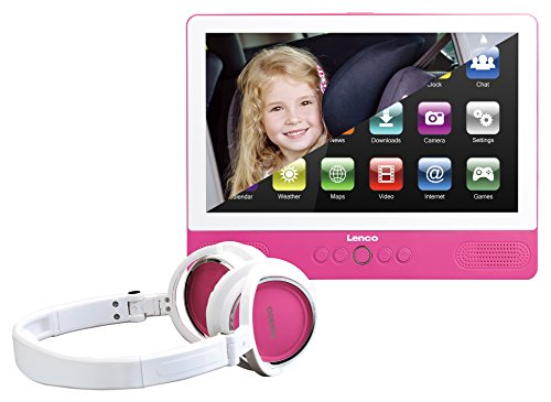 Lenco TDV-900 portabler 9 Zoll DVD-Player mit Tablet-Funktion (Android 6.0, Touch-Screen, 1.024 x 600 Pixel, WiFi, USB, SD) 12 Volt Kfz Adapter, Kopfhörer, Kopfstützenhalter (Spange)