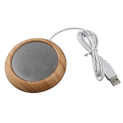 Tomobile USB Kaffee Becher Wärmer für Büro/Zuhause USB-Kaffeetassenwärmer, elektrischer Tassenwärmer mit Holzdekor Deep Walnut Grain 5W hohe Leistung -