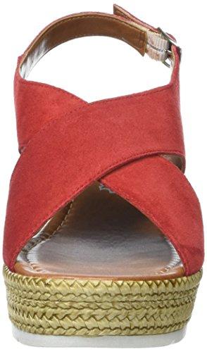 Marco Tozzi Premio Damen 28362 Offene Sandalen mit Keilabsatz Rot (Chili 533)