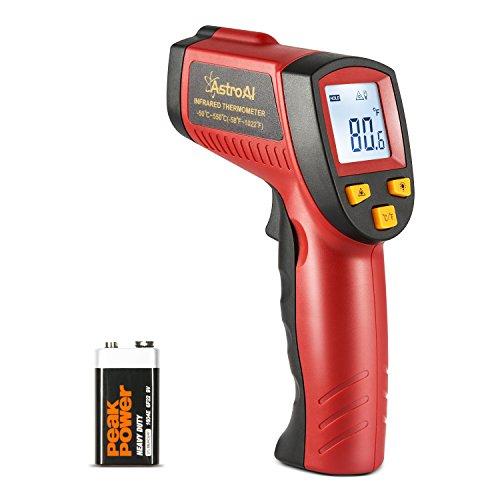 AstroAI Digital Laser Infrarot Thermometer, Berührungslos Temperaturmessgerät IR Pyrometer LCD Beleuchtung Temperaturmesser -50°C bis +550°C, Rot und Schwarz -