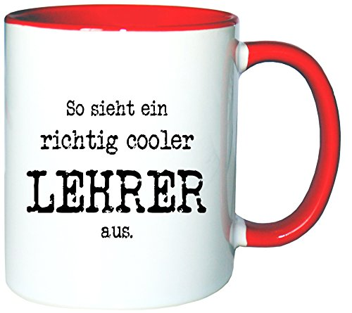 affeetasse Becher So Sieht EIN richtig Cooler Lehrer aus, Farbe: Weiß-Rot ()