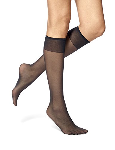 No Nonsense Women's Sheer Toe Comfort Top Knee Highs, Plus Size, 8 Pair Pack