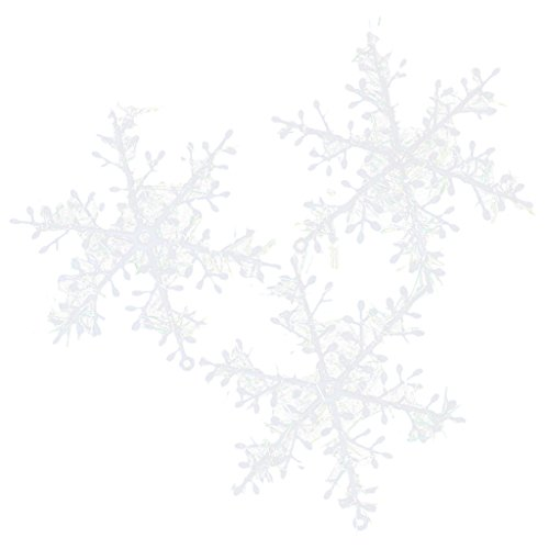 30pcs 13cm Flocons de Neige Décorations de Noël Ornements Suspendus - Blanc