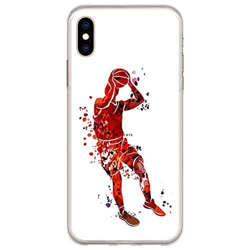 BJJ SHOP Transparente Hülle für [ iPhone XS Max ], Flexible Silikonhülle, Design: Basketball-Spieler-Aquarell