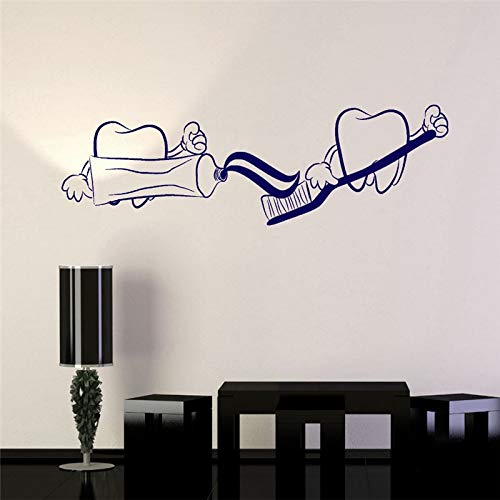 ONETOTOP Denti Dentifricio Adesivi Divertenti Decorazioni murali Bagno Decorazioni murali in Vinile Impermeabili Dentista Odontoiatria Nuovo Arrivo Wallpaper 42 * 144cm