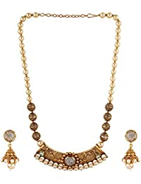 Aradhya Designer Pearl Kundan Rajasthani Gold Plated Necklace Set With Earrings For Women And Girls