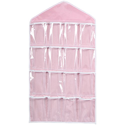 Hukz Transparente Aufbewahrungstasche mit 16 Gittern,Klar Hängende Tasche Socken BH Unterwäsche Rack Kleiderbügel Speicherorganisator (Rosa)