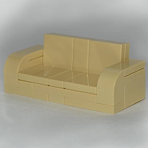 LEGO Furniture: Tan Adjustable Couch 7 x 3 Sofa - with Parts & Instructions by Interior Bricks