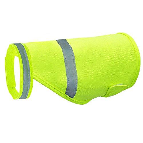 Aquir Chaleco Reflectante de Seguridad para Perros, Pets Seguridad Fluorescente Luminoso para Mascotas Ropa Impermeable Ropa para Caza, Senderismo, Footing y Entrenamiento (Verde, L)