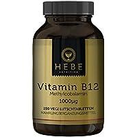 Vitamin B12 Methylcobalamin 1000 μg, hochdosiert, 250 Lutschtabletten, vegan, Premium-Qualität von Hebe Nutrition