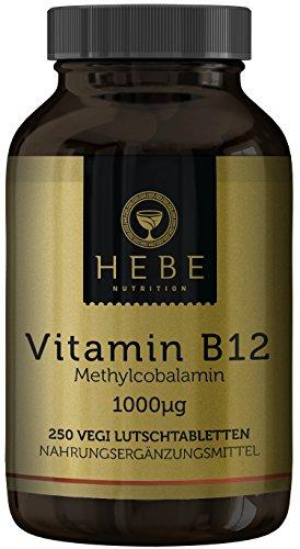 Vitamin B12 Methylcobalamin 1000 μg, hochdosiert, 250 Lutschtabletten, 8-Monats-Versorgung, vegan, hoch bioverfügbar, Premium-Qualität von Hebe Nutrition (Vitamine B-12 B-12 Sublingual)