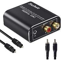DAC Audio 192KHz,Techole Aluminium DAC Convertisseur Audio Numérique vers Analogique, Digital SPDIF Toslink vers Stéréo L/R RCA Jack 3,5mm avec Optique/Coaxial Câble pour TV HD Blu-Ray PS3 PS4 Xbox
