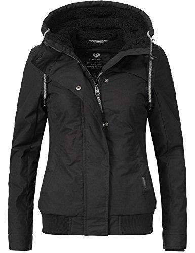 Ragwear Damen Jacke Winterjacke Ewok (vegan hergestellt) All Black Gr. S
