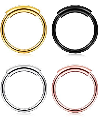 Lolias 4 pezzi acciaio inox orecchini cerchio cartilagine per uomo donne naso piercing anelli gioielli corpo 20g