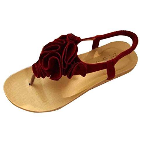 Elecenty Sandalen Damen,Schuhe Flip Flops Shoes Schuh Zehentrenner Sommerschuhe T-Strap Sandaletten Frauen 3D Blume Sommer Offene Flach Badesandalette Elegante Strandschuhe (39, Rot) (Leder Kleid Mule Schwarz)