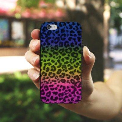 Apple iPhone X Silikon Hülle Case Schutzhülle Leopard Fell Bunt Silikon Case schwarz / weiß
