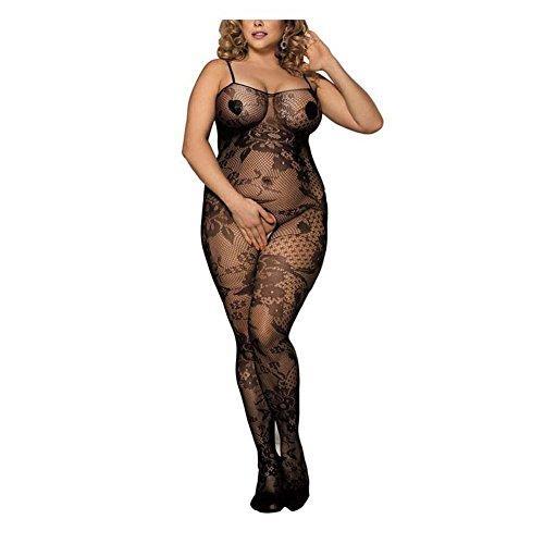 ZJG Sexy Unterwäsche Fischnetz Bodystocking für Damen Ohne Schritt Body Spitze Teddy Strumpfhose -