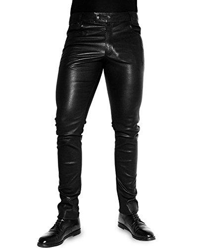 Bockle® 1991 Super-Stretch Tube Black Men stretch Pantalon en cuir Leather Pants Noir