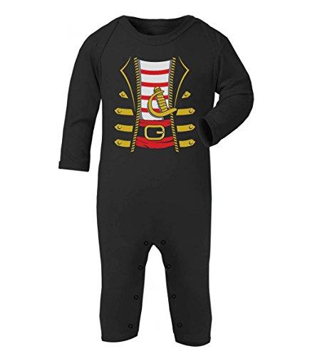 Baby Seeräuber Karneval und Halloween Kostüm Baby Strampler Strampelanzug 3-6 Monate (60/66) Schwarz