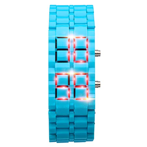unsex digital uhren Neue Eisen Samurai Metall Edelstahl Armbanduhr LED Digitaluhren Männer Frauen(C)