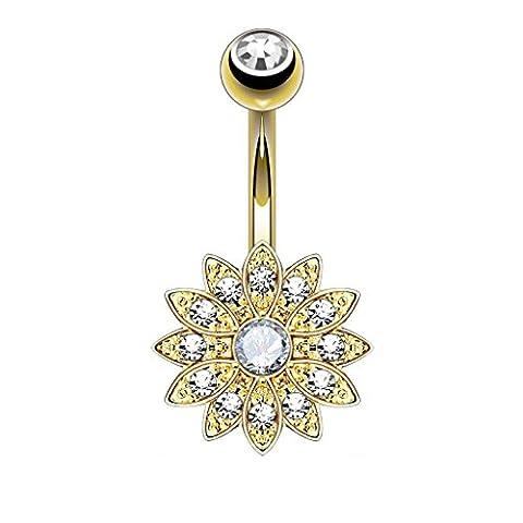 PiercedOff Piercing nombril fleur gemme centre (Plaqué Or/Blanc)