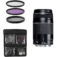 Canon Obiettivo - EF 75-300mm f/4-5.6 III - Teleobiettivo per Fotocamera Digitale Reflex + Set di Filtri 3 Pezzi UV, FLD, CPL - Nero