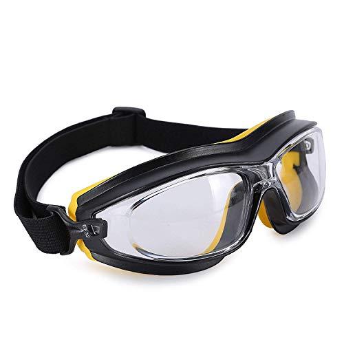 ENJOHOS Schutzbrille Sicherheitsbrillen mit perfektem Seitenschutz & Beschlagfrei & Anti-Staub & Anti-Schock Überbrille für Brillenträger mit Verstellbarem Kopfband, Polycarbonat, für Labor