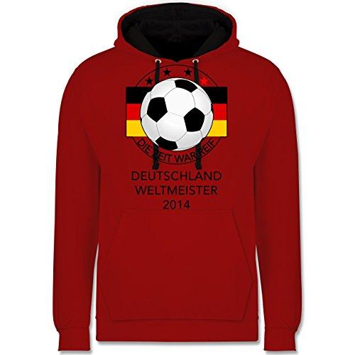 Fußball - Deutschland Weltmeister 2014 - Die Zeit war reif - Kontrast Hoodie Rot/Schwarz