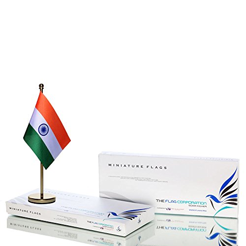 The Flag Shop Indian Miniature Table Flag with A Classy Brass Base