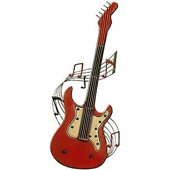 Carrick Motif Cbwjt Décoration Murale En Métal Pour Guitare Rouge