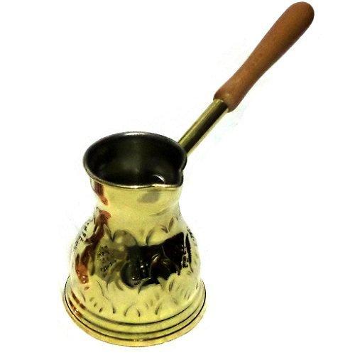 Griechisch Briki (Mokkakanne/)–Kaffee Topf, Messing, 100ml (Zwei Mal Demitasse Cup-Größe), Holzgriff, Hand Made (Cup Demitasse Gold)