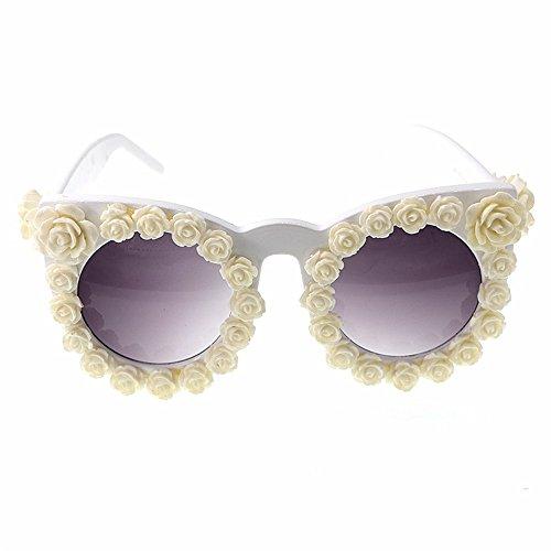 Yiph-Sunglass Sonnenbrillen Mode Frauensonnenbrillen romantische Blume Barock rote Rose Katzenaugen Sonnenbrillen handgemachte Dame Persönlichkeit Strand Zeigen Stil Sonnenbrillen (Farbe : Weiß)