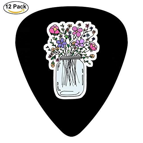 Mason Jar with Flowers Guitar Picks - Celluloid Plectrums for Guitar Bass,12 pack,0.46/0.73/0.96 Mm Guitar
